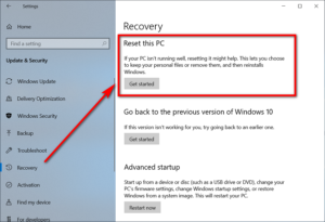 recovery pc reset